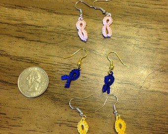 Pink Awareness Ribbon Earrings -- Needle tatted Breast Cancer Awareness Earrings