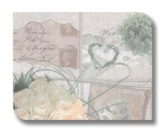 Paper napkin serviette for decoupage (cocktail)  x 1 Wedding Memories No 1295