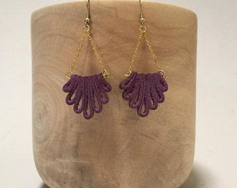 Purple Lotus style dangle leather earrings - Repurposed