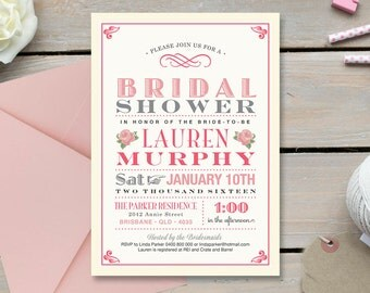Printable Bridal Shower Invitation \ Vintage Pink and Grey Invite with Roses (BR97)