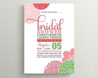 Printable Bridal Shower Invitation \ Floral Invitation \ Pink, Watermelon and Green Colours (PP53)