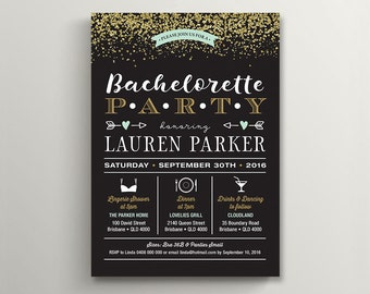 Printable Bachelorette Party, Lingerie Shower Invitation \ Gold glitter with Mint & Black (BR194)