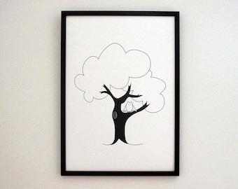 Tree print, owl print, wall art, nursery wall art, digital art prints