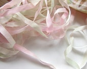 Hand Dyed Silk Ribbon - Embroidery - 1m - 1.1yds - 4mm  -  Needlecraft - Rose Blush