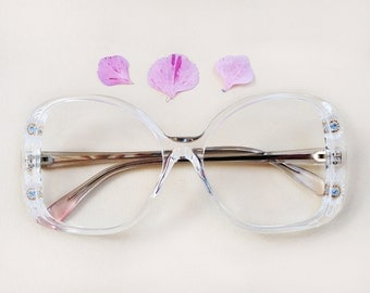 70s French eyeglasses / Vintage dead stock hand carved floral frames / clear lucite flower butterfly sunglasses /  blue Rhinestones Eyewear