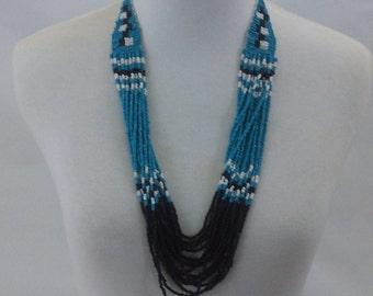 Vintage Beaded Native American Like Beadwork Bib Necklace Bohemian Hippie Ethnic Tribal