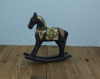 Wooden Horse Brass and Bone
