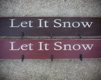 Let It Snow Stocking Holder with 3 Hooks