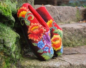 Felted Slippers - Colored Summer size EU39-40