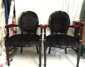 Custom order for Jon Pair of black glossy armchairs upholstered in black and red velvet