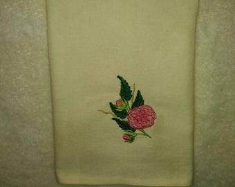 Bathroom decor/ embroidered flower/bathroom linen decoration