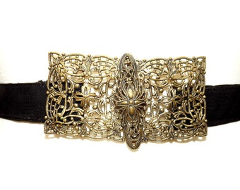exquisite circa 1916 brass filigree belt buckle belt