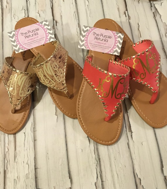 Monogrammed Sandals Personalized Shoes Womens Monogram Gold