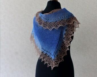 Elegant wool lace scarf - blue beige