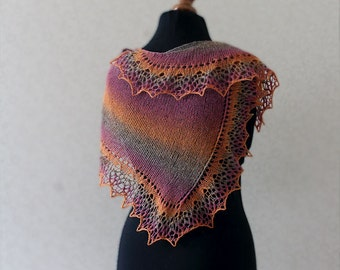 Elegant wool lace scarf - pink orange grey