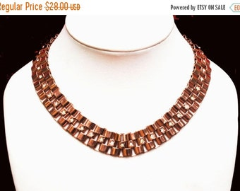Copper Link Collar Necklace with rhinestone Mid Century