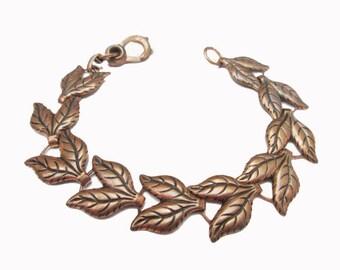 Copper Leaf  link Bracelet -Vintage - mid century Modern - bangle