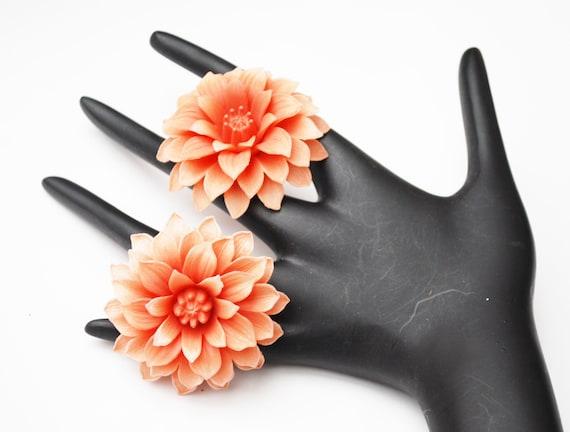 Coral Flower earrings - Vintage plastic - layerd petal floral  - Clip on earring