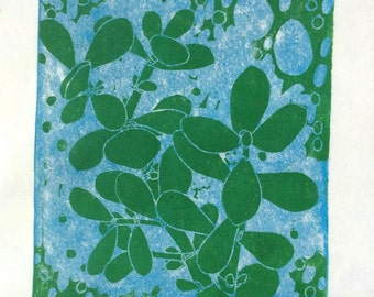 linocut - CLIMBING LIGHT - 9x12, 8x8 / printmaking / block print / jade tree, succulent, houseplant