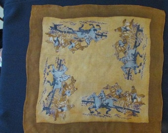 "vintage golden EQUESTRIAN SILK Chiffon SCARF horse racing Horses hand rolled hem 21""x20"""