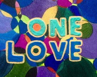One Love // ( Vivid, intricate original acrylic painting, 1 foot diameter)