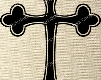 Cross, Easter Illustration, Instant Download, Clipart, Digital Transfer Image for Papercrafts, Pillows, Fabric, Iron on Transfer 233