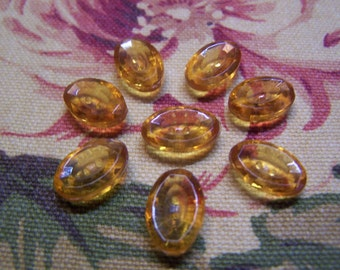 Vintage Small Glass Amber Oval Buttons, Faceted Rims, Set of 8