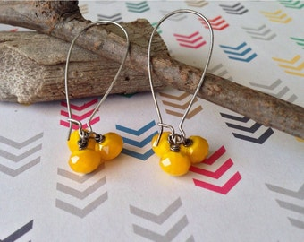 Bright yellow beaded cluster earrings, bold yellow earrings, large silver earrings, summer jewelry