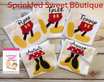 Mickey Inspired Boys Custom Monogram Mouse Feet Applique Shirt Onesie Perfect for First Disney Trip or Birthday Matching Girls