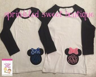 Minnie Inspired Cute Mouse Monogram Raglan Baseball Shirt Applique Custom Girls or Womens Shirt Family Perfect for a Disney World Trip