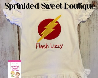 Flash Superhero Boys Girls Custom FLASH Applique Shirt Birthday Monogram Short Long Sleeve