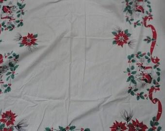 Vintage Christmas Table Linen, Christmas Carolers Tablecloth, Fast Colors Christmas Red Poinsettias, Christmas Tablecloth Carolers Holly