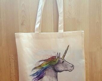Unicorn  / Natural Cotton Canvas Tote Bag