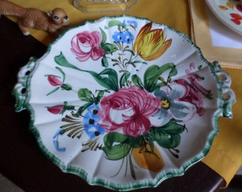 "Vintage 12"" Italian/Italy Pottery Handpainted Cake/Bakery Serving Plate-Reticulated Edge-Multi Colored Floral-Green Trim"