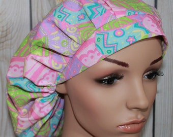 Bouffant Women's Scrub Hat,Surgical Scrub Hat, Easter Eggs