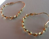 14K yellow gold hoop earrings ,14K solid gold small hoop earrings, 14K solid gold twist hoop  earrings