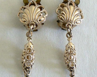 Exquisite Filigree Vintage Beads From West Germany Light Weight Never Worn Earring Clips