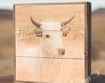 White Cow Wood Sign - wooden signs for home - cow art - cow sign