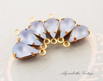 Vintage 10x6mm Light Sapphire Blue Teardrop Matte Glass Stones in Brass Drop or Connector Settings - 6