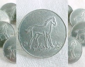Vintage Horse Colt Buttons - Silvertone  Pewter Aluminum Equine Picture Button - Designer Signed - Set of 6 Six - Country Western Cowboy