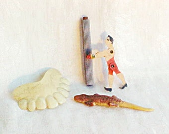 ON HOLD -----Vintage Celluloid Toys - Articulated Acrobat - Funny Teeth from Germany - Hollow Alligator