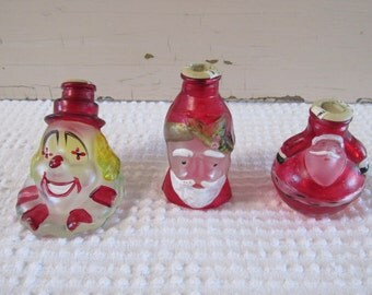 Glass Christmas Light Covers, Set of Three Vintage Christmas Tree Light Covers,