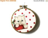 SHOP CLOSING SALE - Kitten Christmas Ornament Embroidery Hoop - Holiday Ornament - White Kitten on Red Dots - Last White Cat Available