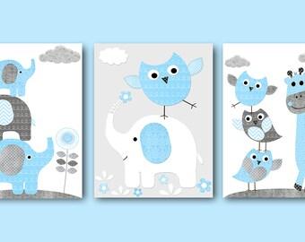 Baby Boy Wall Decor Blue Grey Giraffe Elephant Decor Owls Wall Art Boy Canvas Nursery Print Baby Boy Wall Art Nursery Wall Decor set of 3
