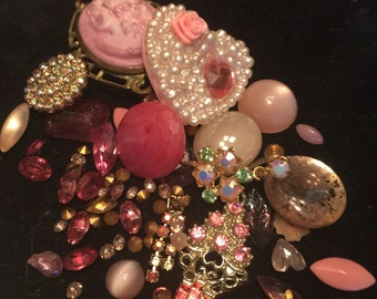 Pink Rhinestones and Jewelry Pieces