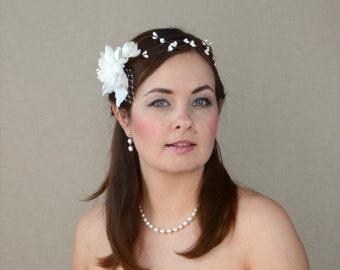 Bridal Crown with Handmade Silk Flowers - Bridal Hair Wreath - Woodland Wedding Hair Vine
