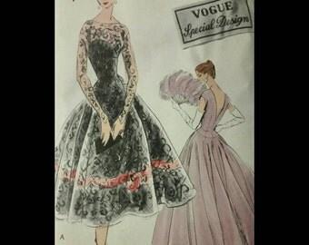 Vintage 50's VOGUE Cocktail Party Dress Pattern S-4738 Wearable Size!