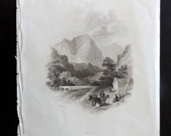 Hall's Ireland 1843 Antique Print. Errive, Mayo and Galway