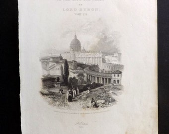 Finden C1835 Antique Print. St. Peters, Rome. Title Page, Italy