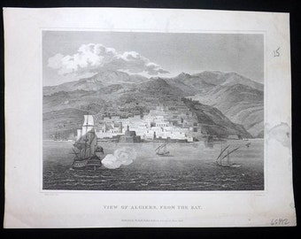 Barclay 1818 Antique Print. View of Algiers, from the Bay. Algeria